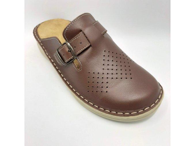 Dámské pantofle pro širší nohy Ortoplus 03-322 hnědé