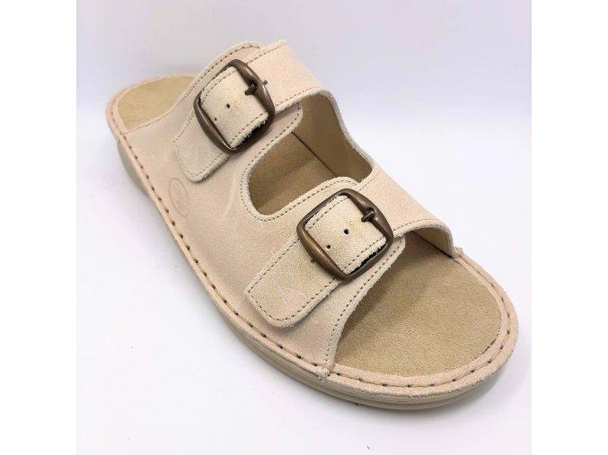 Dámské pantofle pro širší nohy Ortoplus 05-501 béžové