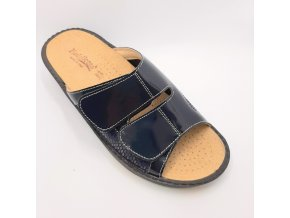 Dámské pantofle se strečem Piedallegro S27-BLK tmavě modré/černé