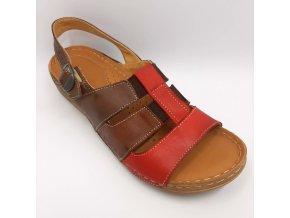 Dámské zdravotní sandály Peon 2911021284 červeno-hnědé