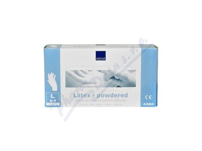 Rukavice vyšetřovací Latex L (8-9) pudrované 100ks