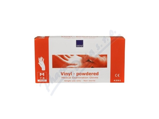 ABENA Rukavice vyšetřovací Vinyl M (7-8) pudrované 100ks