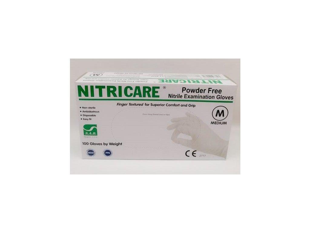 Rukavice nitrilové Nitricare bílé M 100 ks