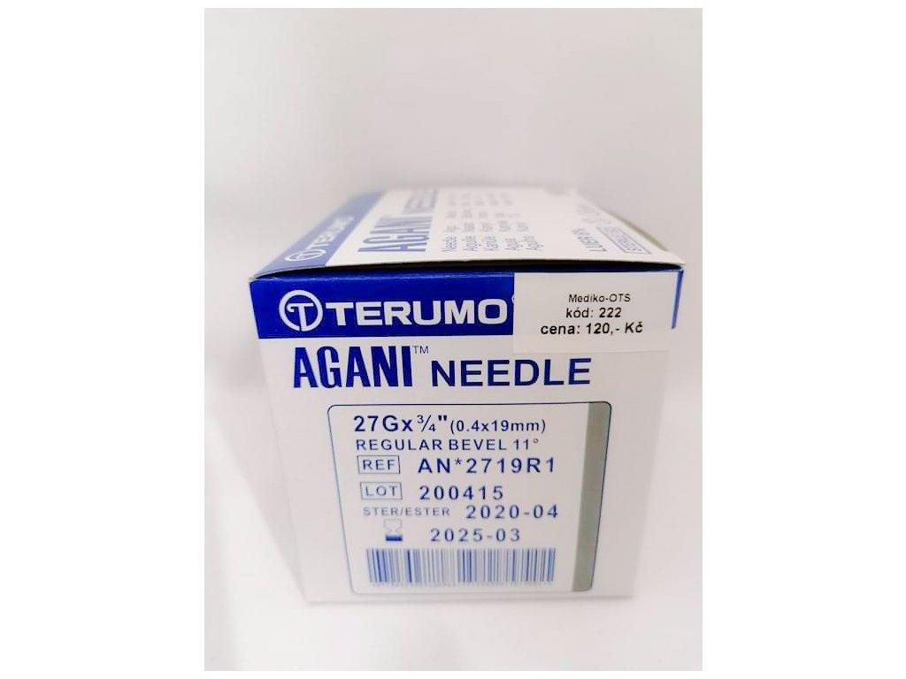 Jehla injekční 27G 0,40x19 mm šedá AGANI /100 ks/