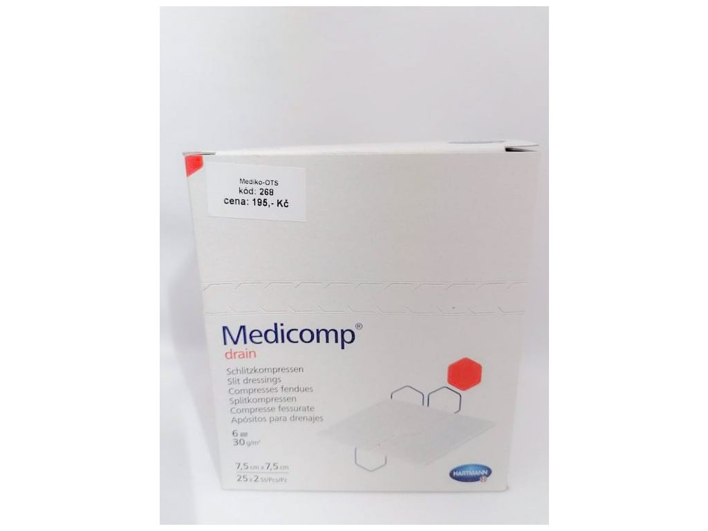 Medicomp Drain kompres z netk. textilu 7,5x7,5 cm sterilní /25x2 ks/
