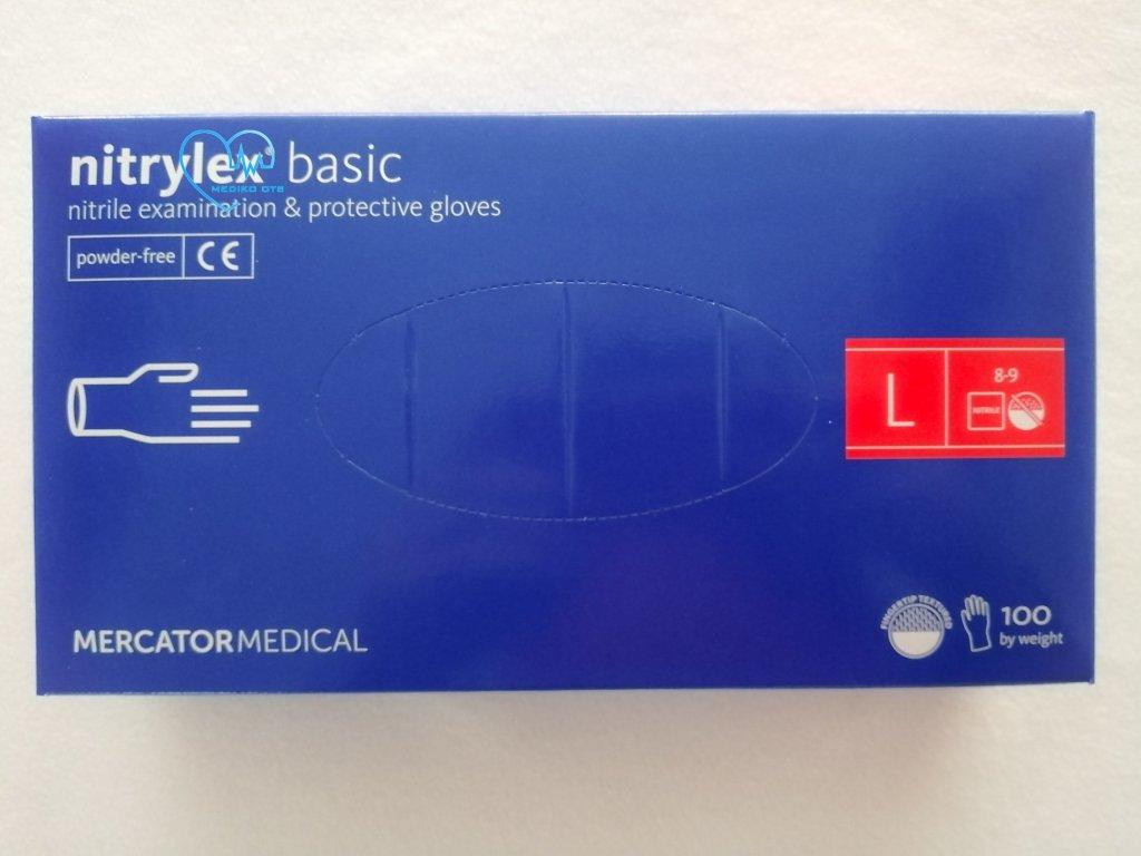Rukavice nitrilové Nitrylex Basic modré vel. L 100 ks