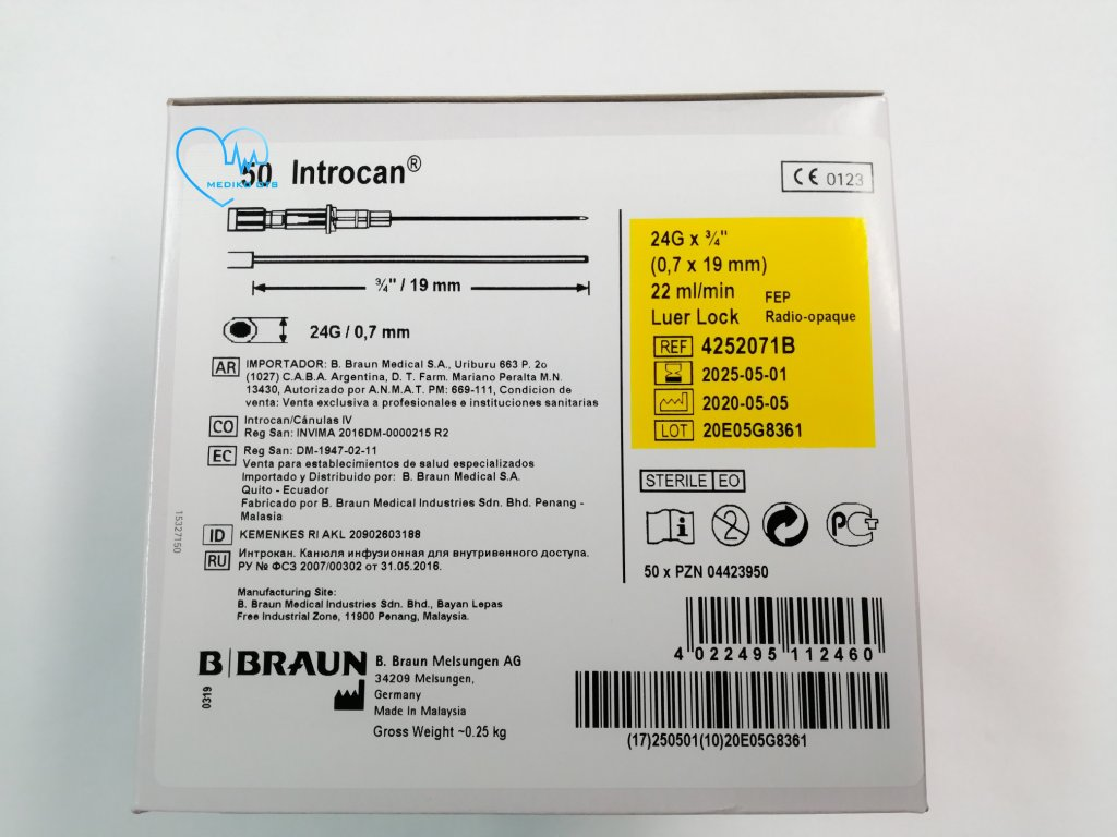 Introcan I.V. katetr FEP G 24 0,7 x 19 mm