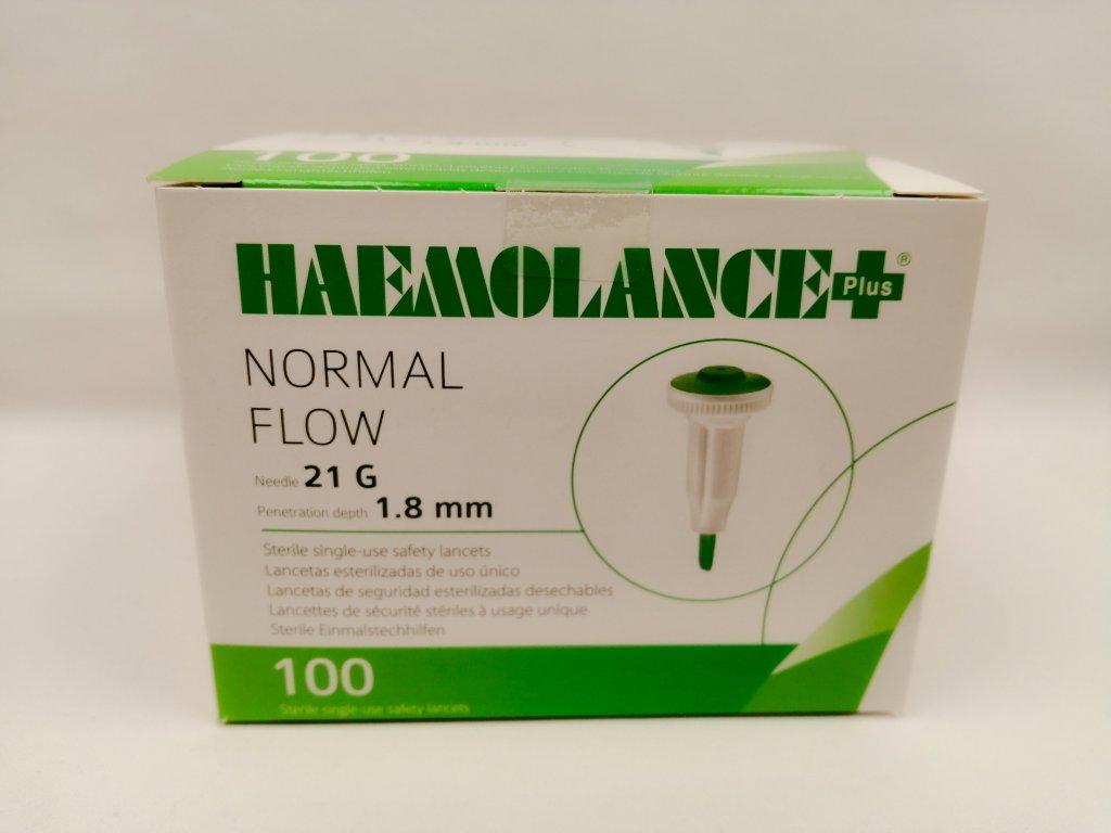 Lancety Haemolance + Normal Flow 21G zelené 100 ks