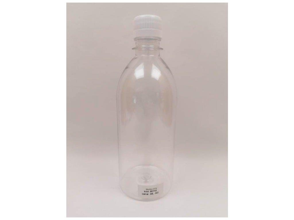 Plastová lahvička čirá s bílým víčkem 500 ml