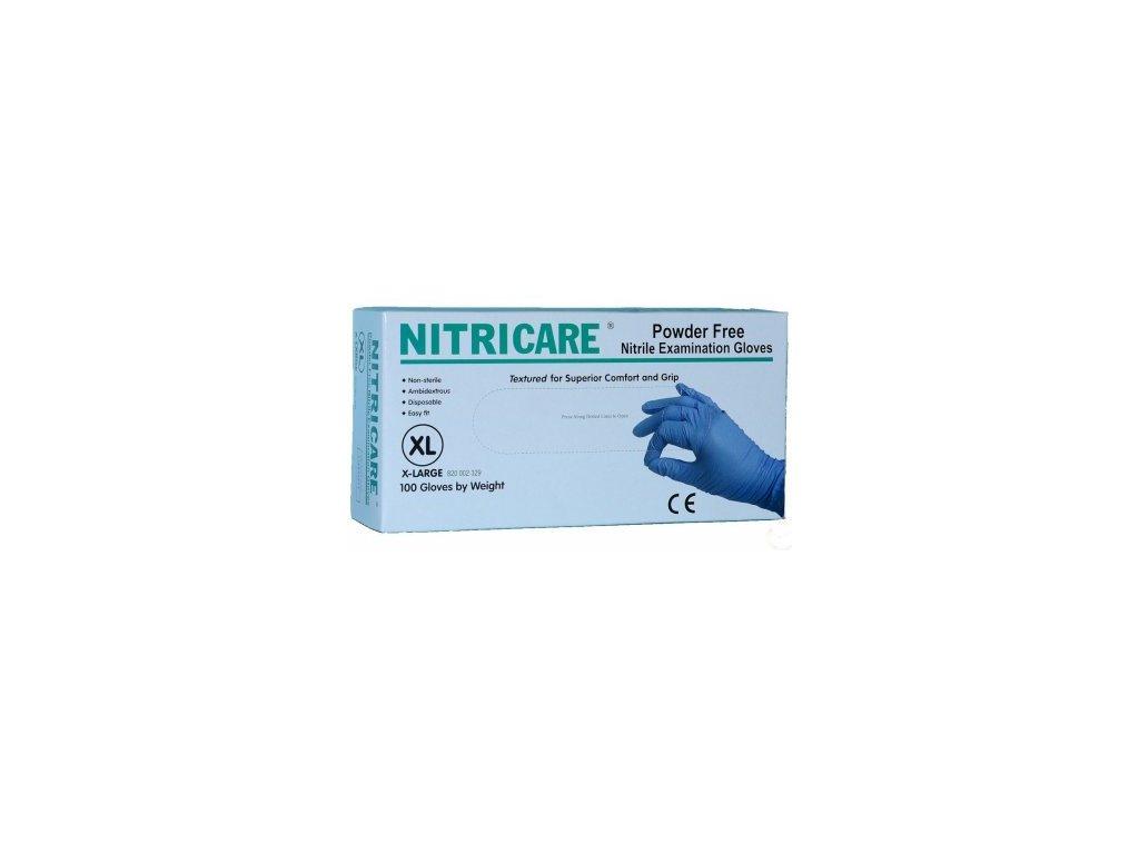 Rukavice nitrilové Nitricare modré vel. XL 100 ks