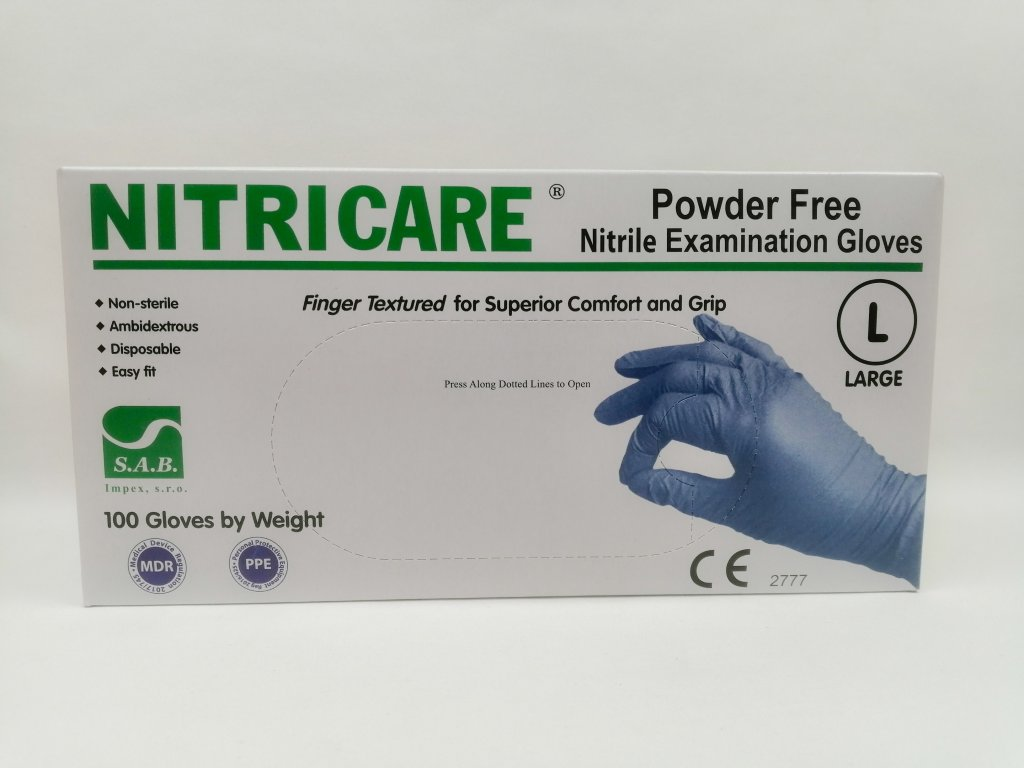 Rukavice nitrilové Nitricare modré vel. L /100 ks/