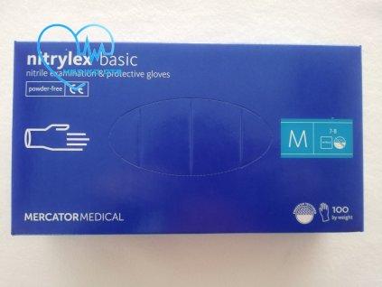 Rukavice nitrilové Nitrylex Basic modré vel. M 100 ks