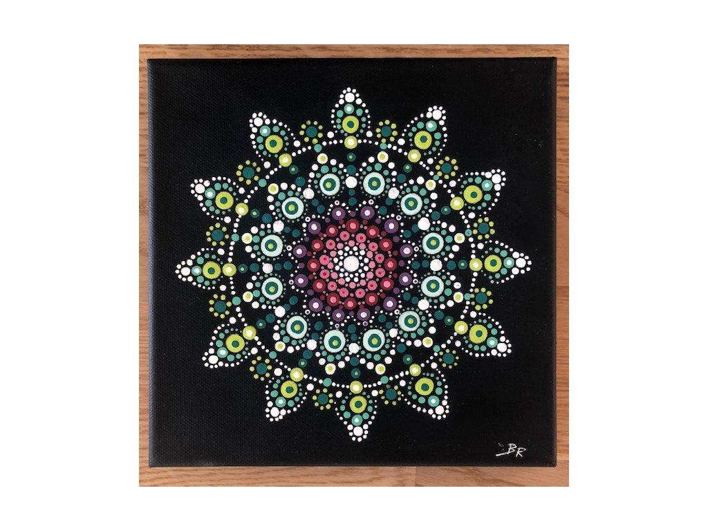 Mandala na plátně ručně malovaná