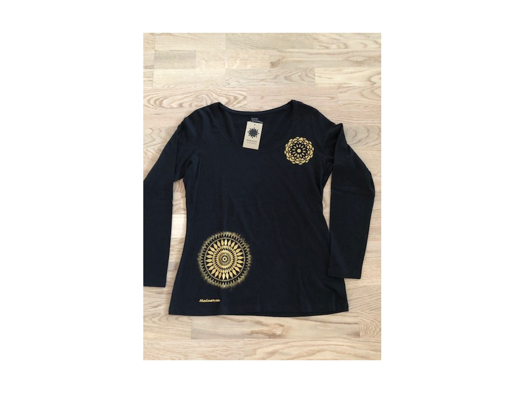 Tričko černé - dlouhý rukáv s mandalou