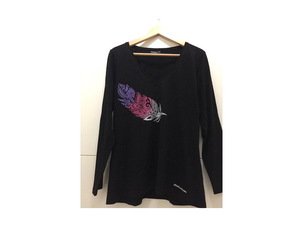 Tričko černé - dlouhý rukáv s peříčkem