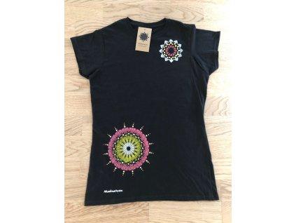 Tričko černé - krátký rukáv s mandalou