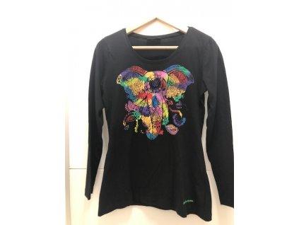 Tričko černé nebo bílé s ručně malovaným slonem