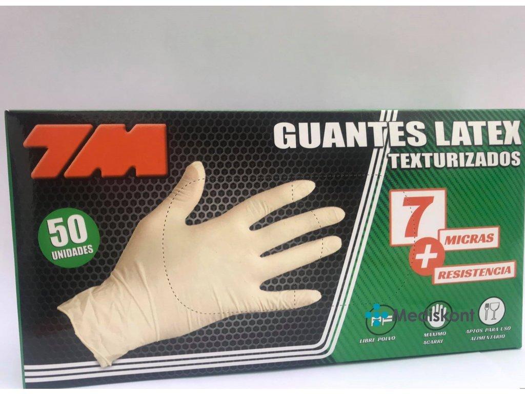 Rukavice latexové 7M, vel. XL, 50 ks, krémová, nepudrované