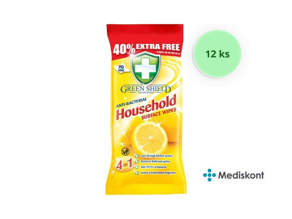 12 ks Greenshield ubrousky vlhčené antibakteriální Citron 70 ks