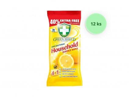 12 ks balení Greenshield ubrousky vlhčené antibakteriální Citron 70 ks (50 Kč/balení)