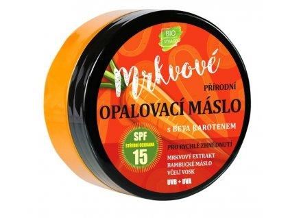 100% Přírodní opalovací máslo s mrkvovým extraktem SPF 15, 150ml