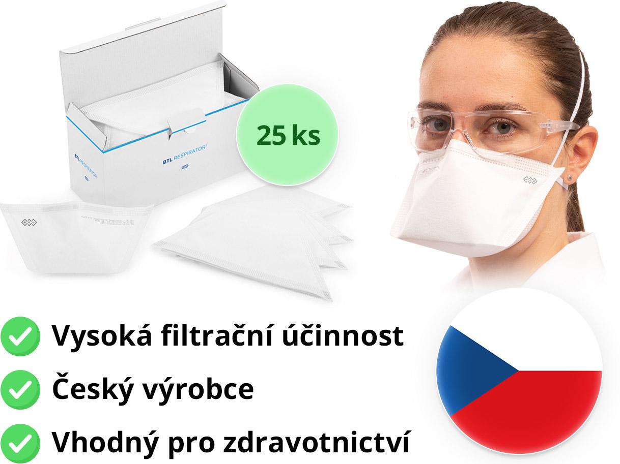 BTL FLAT-FIT Healthcare Respirátor FFP2 25 ks Počet kusů v balení: 25 ks
