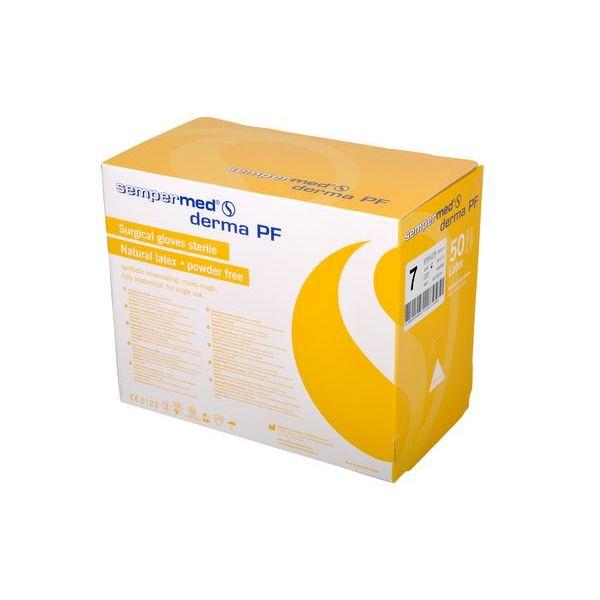 Levně Sterilní chirurgické latexové rukavice Sempermed Derma PF, velikost 6 až 9 bílé 100 ks bez pudru (9,90 Kč/ks) Rozměr: 7