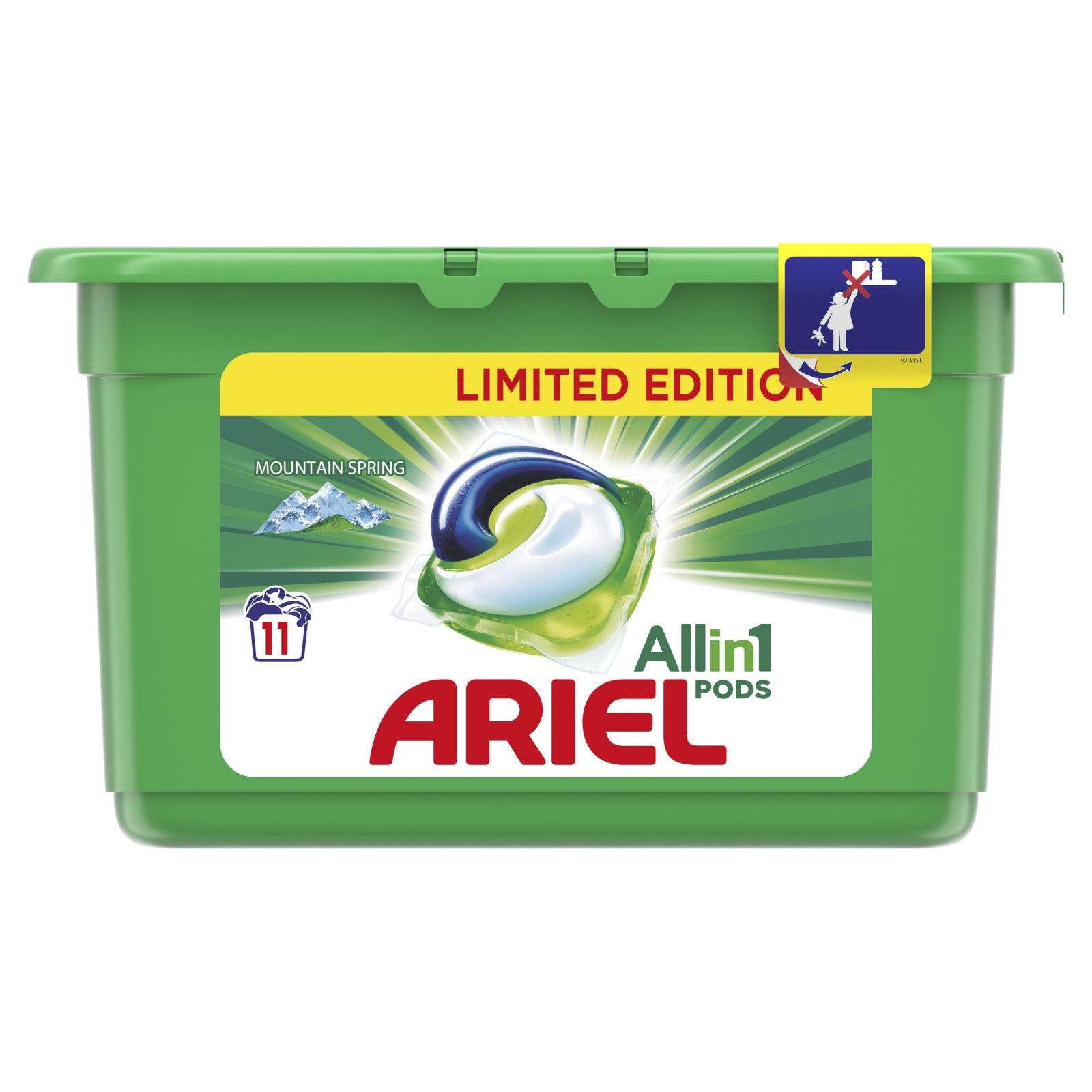 Ariel 3v1 Mountain Spring gelové kapsle na praní prádla 11 ks 297 g
