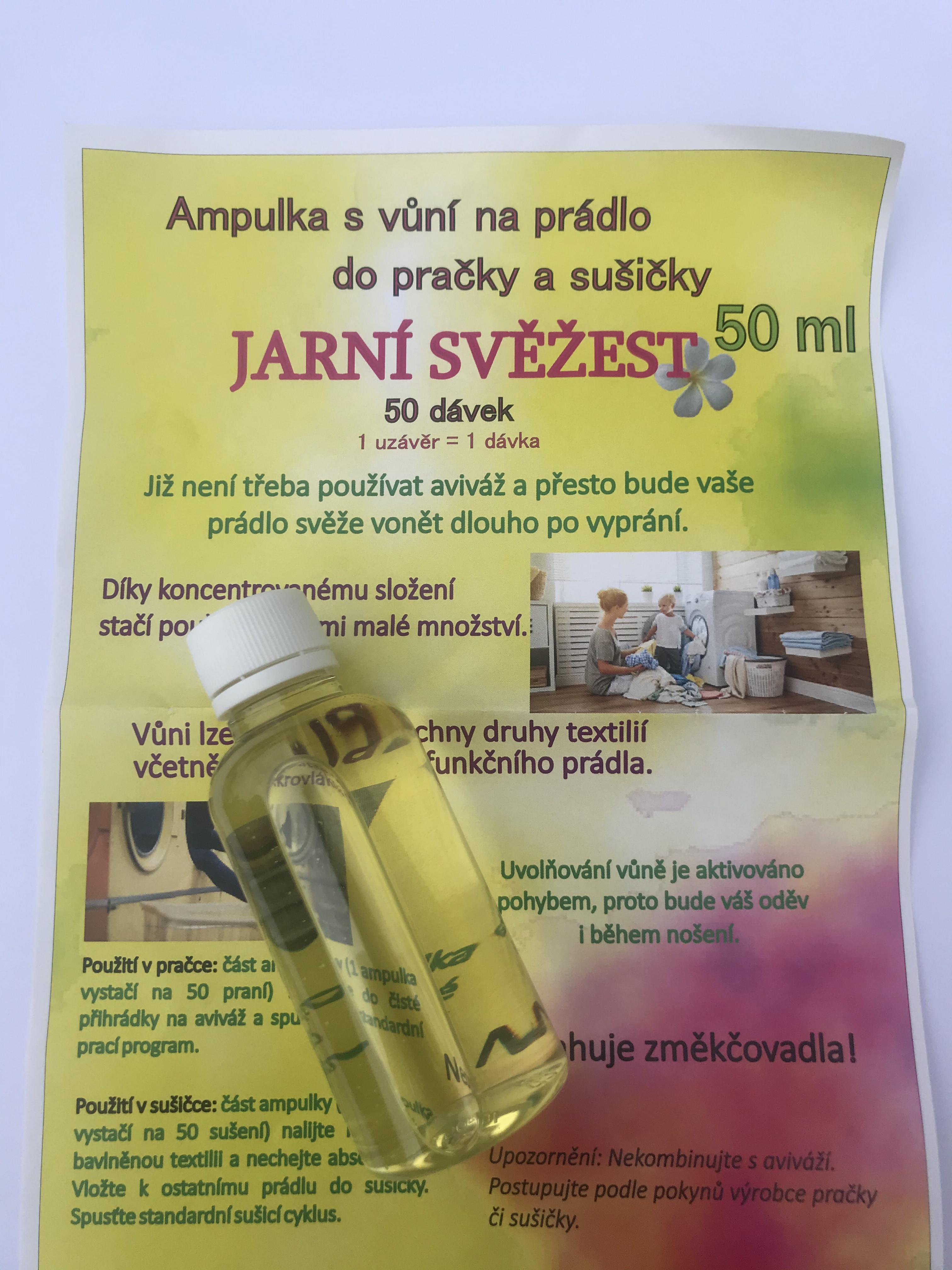 Jarní svěžest 50 dávek - Parfém na prádlo do pračky a sušičky 50 ml