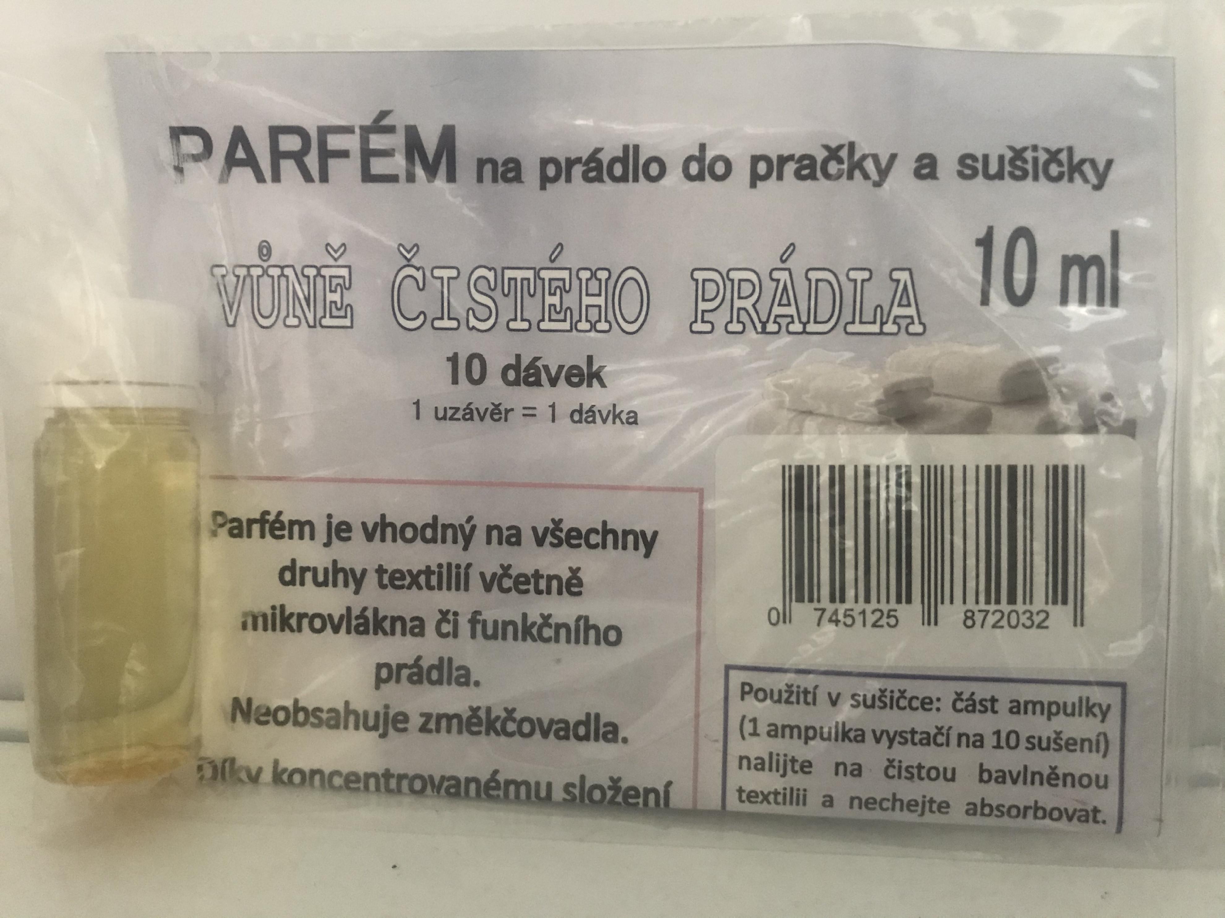 Parfém na prádlo do pračky a sušičky 10ml vůně čistého prádla (10 dávek)