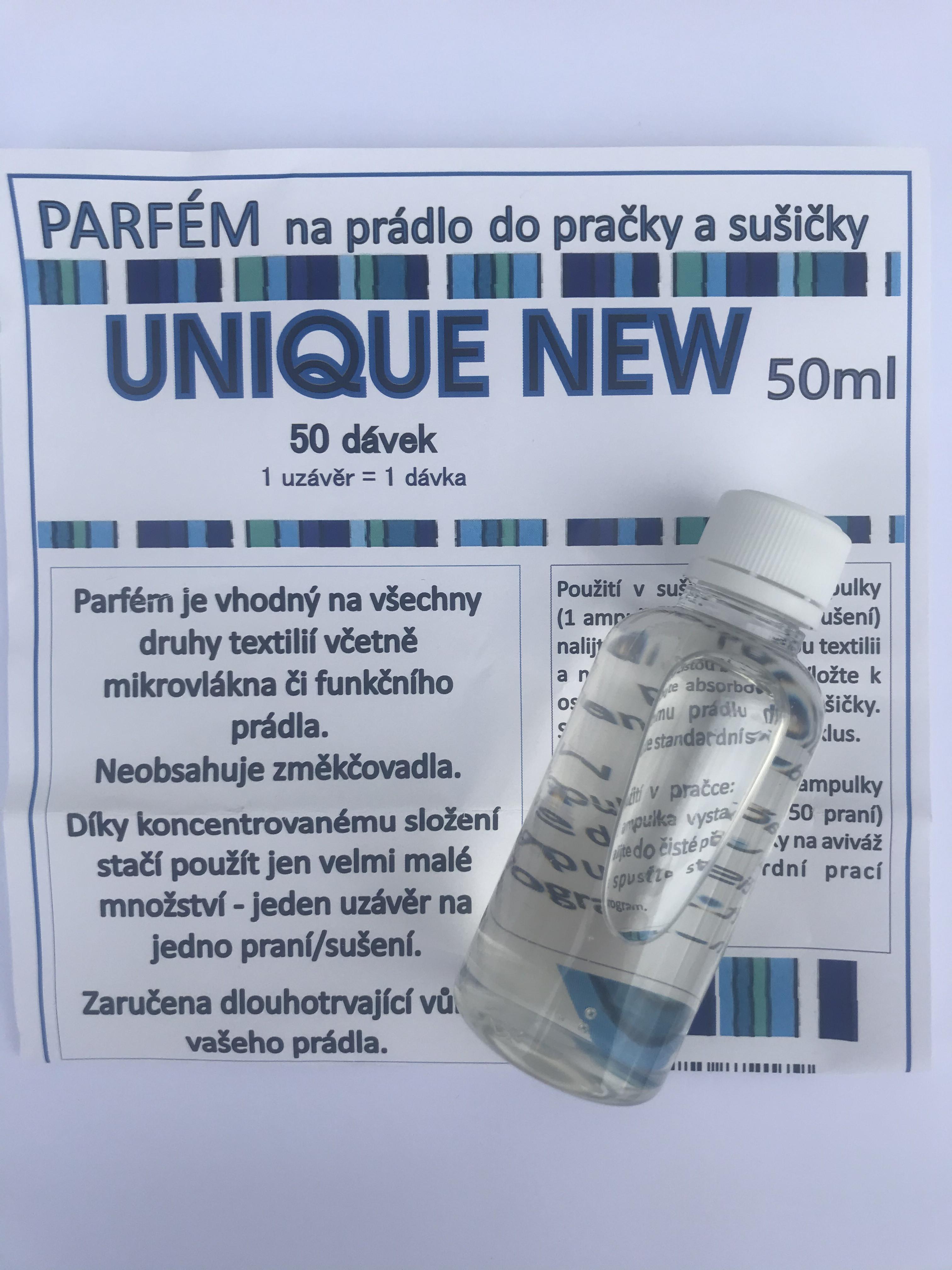 Parfém na prádlo do pračky a sušičky 50ml vůně Unique New (50 dávek)