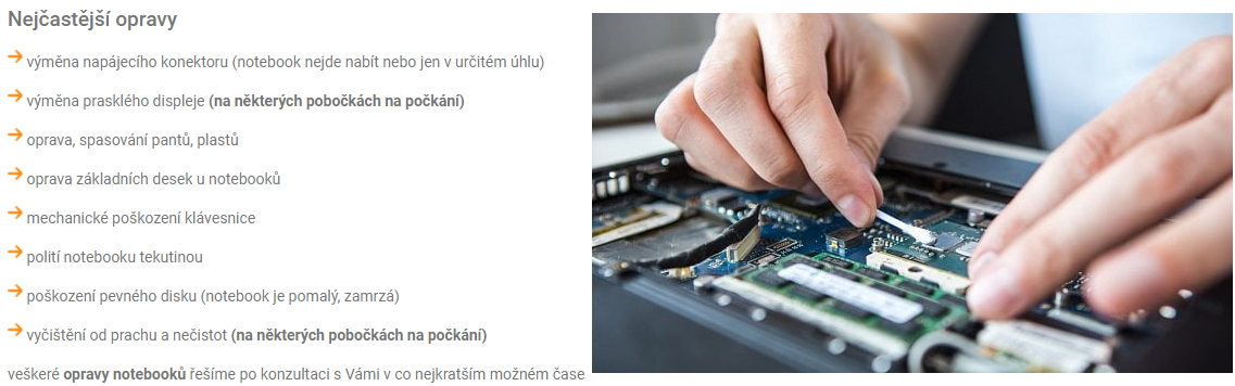 Opravy NTB a PC