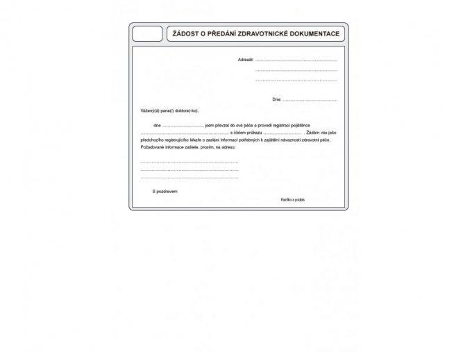 žádost o předání zdravotní dokumentace