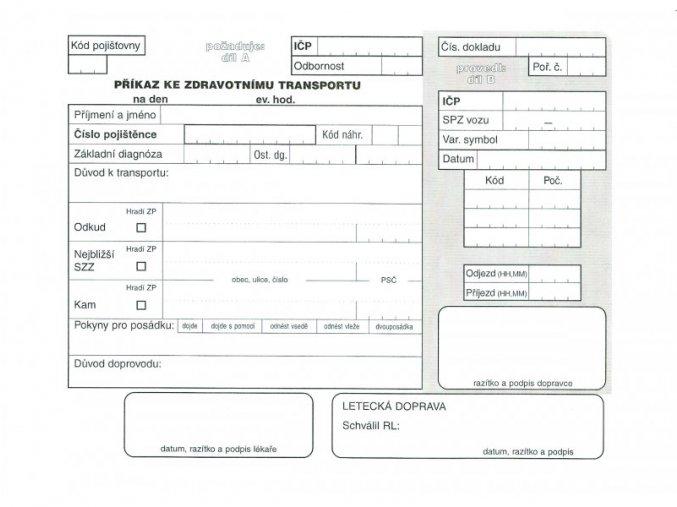 Příkaz ke zdravotnímu transportu (žádanka o zdr. transport)