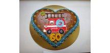 """Srdce narozeninové """" Pro hasiče"""" 500 g  Medový perník. Ruční práce. Handicraft."""