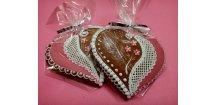 Perníkové srdce - variace na růžovou ...  Medový perník. Ruční práce. Handicraft.