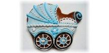 Kočárek modrý 20 g  Medový perník. Ruční práce. Handicraft.