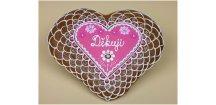 Srdce děkovné 18 x 17 cm č. 5  Medový perník. Ruční práce - Hand made.