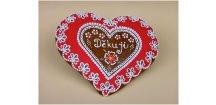 Srdce děkovné 18 x 17 cm č. 7  Medový perník. Ruční práce - Hand made.