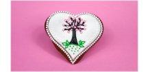 Perníkové srdce s jabloňkou 50 g  Medový perník. Ruční práce - Hand made.
