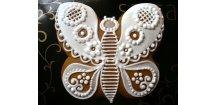 Motýl folklor 80 g  Medový perník. Ruční práce. Handicraft.