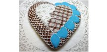 Srdce modrá-bílá MODERNA 150 g  Medový perník. Ruční práce. Handicraft.