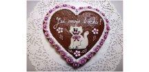 """Srdce """"Kočka"""" růžové s marcipánem 150 g  Medový perník. Ruční práce. Handicraft."""