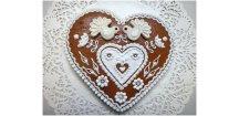 Srdce svatební s marcipánem 170 g  Medový perník. Ruční práce. Handicraft.