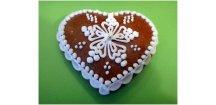 """Perníkové srdíčko """" Vánoční hvězda"""" 30 g  Medový perník. Ruční práce. Handicraft."""