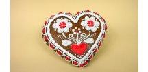 """Perníkové srdce """"Lidové motivy"""" I. 60 g  Medový perník. Ruční práce. Handicraft."""