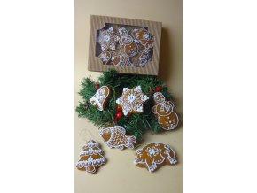 Vánoční perníčky na stromeček - kazeta 6 ks  Medový perník. Ruční práce. Handicraft.