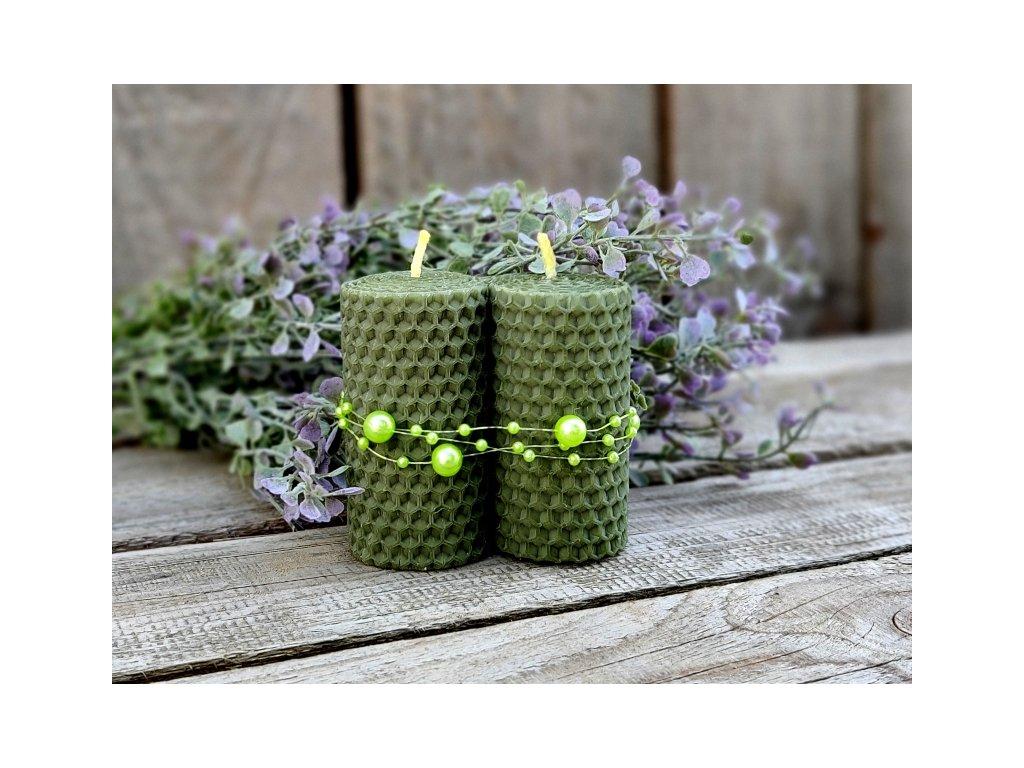 svíčky z včelího vosku zelené1