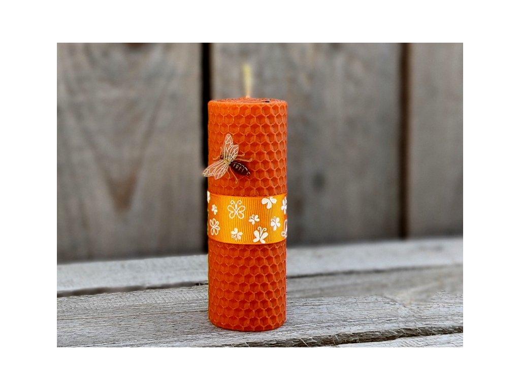 svíčka z včelího vosku oranžová1