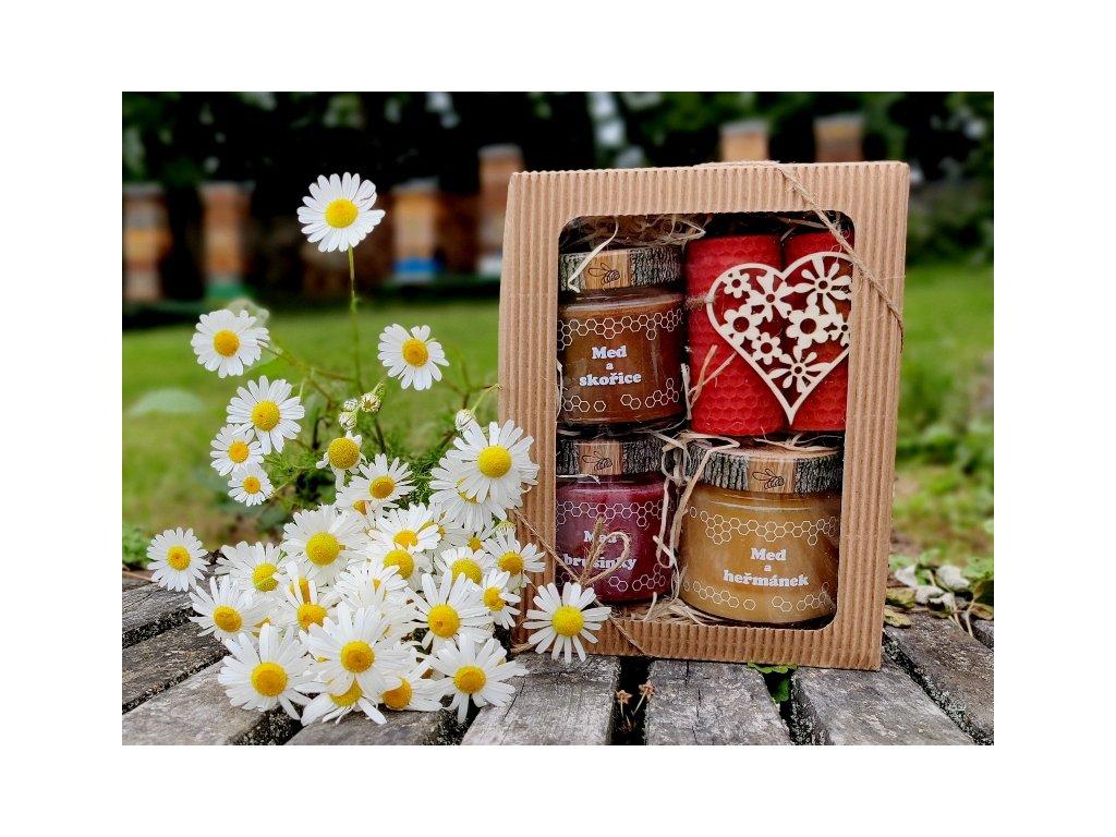 medový dárek se srdcem